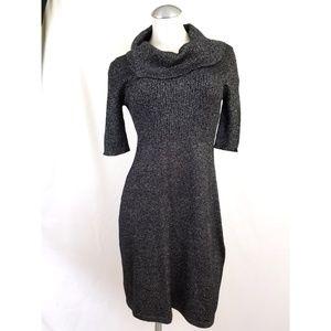 Evan Picone Size 8 Black Metallic Knit Dress